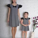Family Look комплект 2 платья крылышки бантик мама дочка