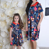 Family Look комплект 2 платья Мишки воротничок мама дочка