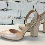 Туфли лодочки натуральная кожа с ремешком остроносые р.35-41