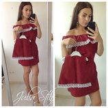 Family Look комплект 2 платья с кружевом мама дочка