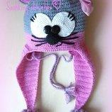Шапка шапочка серая с розовым котик, мышка, мишка тедди