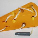 Шнуровка сыр, арбуз деревянные игрушки сортер