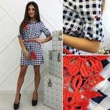 Платье ткань- каттон кружево ремень размер- с м л кружево пришивное супер качество