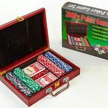 Набор для покера 200 фишек в деревянном кейсе Poker Game Set 6642 фишки с номиналом, вес 11,5г