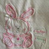 9-12 мес 80 см реглан футболка с длинным рукавом в горошек с зайчиком