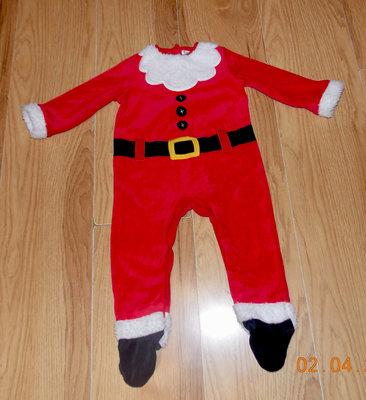 Новогодний фирменный человечек Санта клаус для мальчика 9-12 месяцев, 80 см