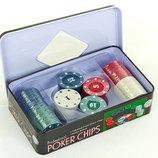 Фишки для покера в металлической коробке Professional Poker Chips 2110 100 фишек с номиналом