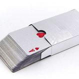 Игральные карты золотые 4567 Silver 500 Dollar пластик, 54 карты