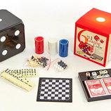Набор настольных игр 6 в 1 Game Cube 341-166 покер карты домино шахматы шашки нарды