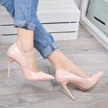 Женские туфли лодочки пудра Польша