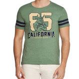 в наличии мужская футболка LC Waikiki светло-изумрудного цвета с надписью на груди