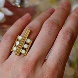Кольцо с белыми кристаллами Pilgrim Дания элитная ювелирная бижутерия ручной работы