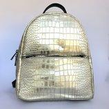Городской рюкзак Италия, натуральная кожа, золото, хит продаж