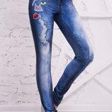 Джинсы-Вышивка Лосины Рп женские леггинсы с джинсовым принтом скл2