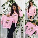 Family Look комплект стильный джемпер, свитшот Принцесса мама дочка бирюза, розовый