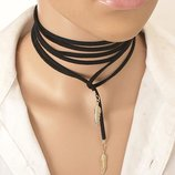 Новый 2-х метровый cтильный замшевый черный длинный чокер шнурок по оптовым ценам колье ожерелье