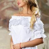 Свободная и легкая белая блузка 721