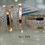 Серебро с золотом набор колечко серьги