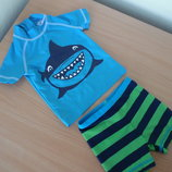 купальник 6-9 ме яркий зеленый синий 40 защита от солнца Next шаоры футболка для купания на море