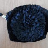 косметичка черная бархат женская модная стильная цветок lua новая