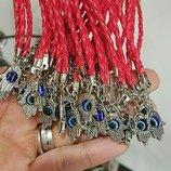 Кожаный браслет хамса красный