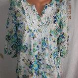 Легкая натуральная блуза с кружевом