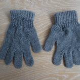 перчатки на 7- 10 л велюр тянутся серые