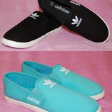 Супер цена Adidas Мокасины слипоны кеды мятные черные и синие 36-41
