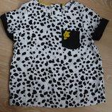 Блузка девочке 9-10 лет 135-140 см George Джорж белая в черные пятна оригинал