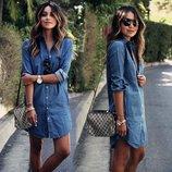 платье женское сарафан джинсовое хит рубашка бойфренд