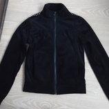 Кофта спортивная девочке 134/140 см Zeeman Нидерланды черная камушки велюр