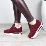 Женские кроссовки сникерсы замшевые бордо