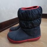 сапоги зимние девочке 19,5 см С 13 размер оригинал синие красные Crocs Крокс девочке детские