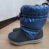 сапоги зимние девочке 17,7 см С 11 размер оригинал Синие Голубые Crocs Крокс девочке детские