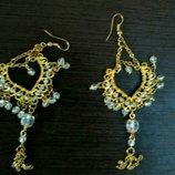 Длинные серьги в индийском стиле, красивая бижутерия