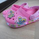 Кроксы девочке 12 р стелька 17 см Crocs Крокс розовые оригинал лето море