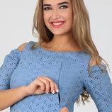 Летнее платье для беременных и кормящих Unique, из батиста-прошвы, джинсово-синее