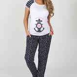 Свободные брюки для беременных, из легкого штапеля, белые якорьки на темно-синем