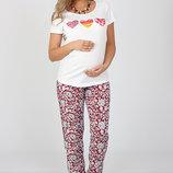 Свободные брюки для беременных, из легкого штапеля, молочные цветы на красном