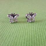 Серебрянные сережки гвоздики бабочки