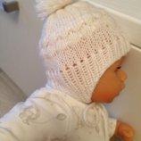 одежда милая белоснежная вязаная шапочка с помпоном для куклы Анабель, Шу-Шу, беби борна