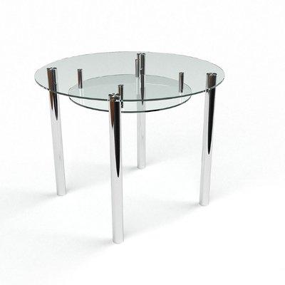 Обеденный стол Круглый прозрачный с полкой