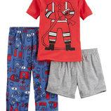 Пижама хлопковая тройка для мальчика Carters Пожарный
