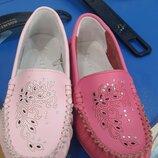 Супер красивые и качественные кожаные мокасины туфли calorie для девочки р. 33-37