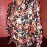 Элегантный, яркий пиджак, жакет в цветочный принт