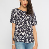 женская блуза LC Waikiki / Лс Вайкики черного цвета в белый мелкий рисунок