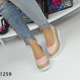 Код 1259 Розовые туфли на платформе. Материал эко кожа.