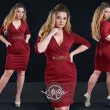 Платье миди с выразительным декольте. Размеры 48, 50, 52, 54.