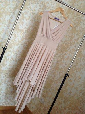 Шикарное Пудровое Платье-Фрак