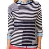 Оригинальный свитерок спущенное плечо, рукав 3/4 комбинированная полоска 2х, xl